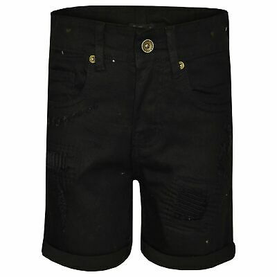 Kids Boys Jet Black Shorts Denim Ripped Chino Bermuda Jeans Knee Length Pants