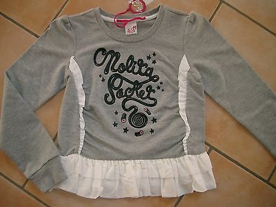 (66) Nolita Pocket Girls Sweatshirt A-Form Gummi Logo Besatz & Volants gr.128