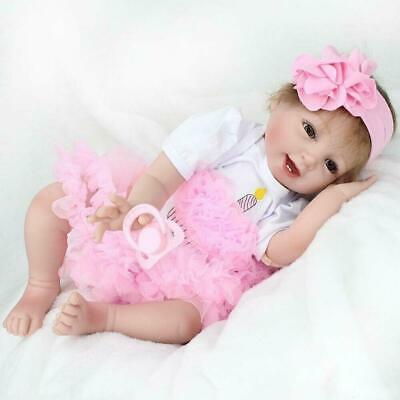 "22"" Vinyl Silicone Reborn Doll Real Life Like Newborn Baby Dolls Pink Princess"