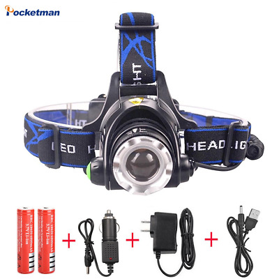 80000LM XML-L2 T6 Led Headlamp Zoomable Headlight Torch Flashlight 18650
