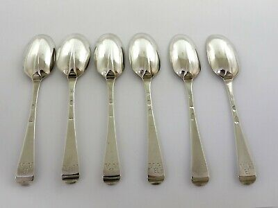 Rare Set 6 RATTAIL IRISH SILVER TABLE SPOONS, Dublin 1731 by William Williamson