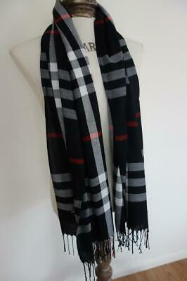 Unisex Men's/Women's Black Tartan Plaid Pashmina Scarf 200x70cm