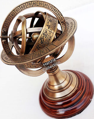 Brass Armillary Sphere Astrolabe On Wooden Base Maritime Nautical Antique S113