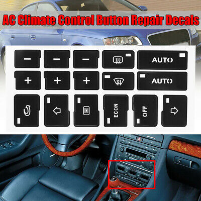 AC Climate Control Button Repair Sticker Decal Set for Audi A4 B6 B7 2000-2004
