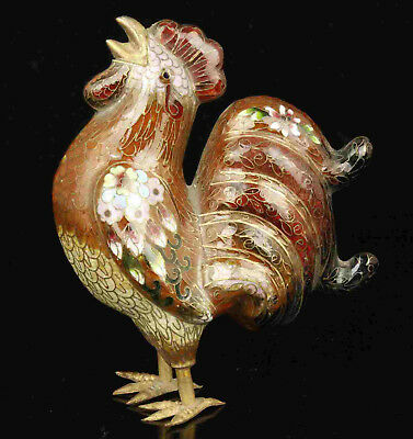 China Old Collectible Handwork Cloisonne Rooster Statue Desktop decoration