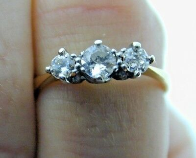 Sweet Diamond Trilogy 18 Carat Yellow Gold Ring size F 0.22cts Engagement 1.2g