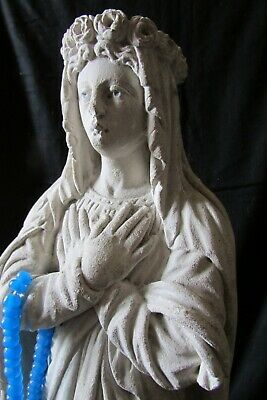 """HUGE Antique French plaster chalkware Mary Marie Madonna Beads statue 16"""" c1900"""