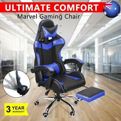 Blue Computer Gaming Chair Office Racing Seat Footrest PU Leather Executive Seat
