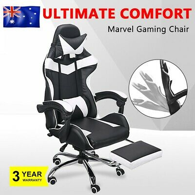 White Computer Gaming Chair Office Racing Footrest PU Leather Executive Seat AU