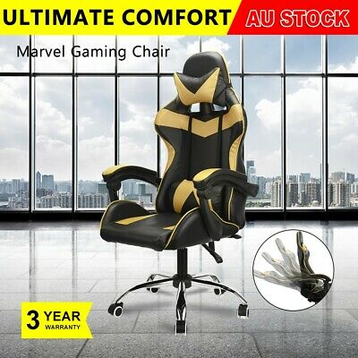 Gold Computer Gaming Chair Office Racing PU Leather Executive Seat Adjustable AU