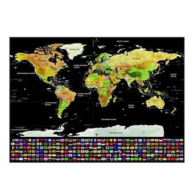 Large Black World Map Scratch Off Map Travel Room Home Decoration Wall Stickers