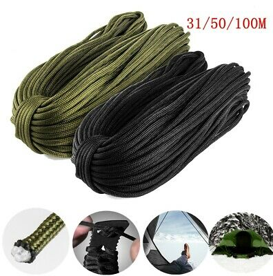31/50/100M 550 Paracord Parachute Cord Lanyard Mil Spec Type III 7 Strand Core
