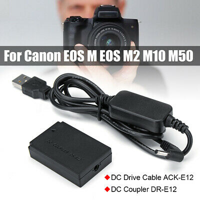 LP-E12 Power Charger Cable ACK-E12+DR-E12 Dummy Battery For Canon EOS M2 M50 M10