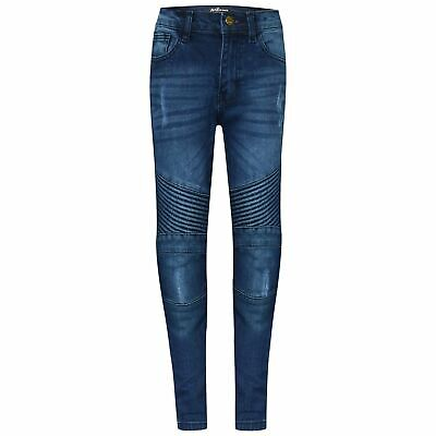 Kids Boys Stretchy Jeans Designer's Mid Blue Ripped Skinny Denim Pants 5-14 Year