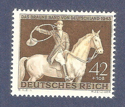 DR Nazi 3rd Reich Rare WW2 WWII Stamp Horse Racing Brown Ribbon Germany *SPECIAL