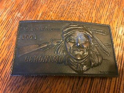 Vintage Geronimo Belt Buckle  St. Louis Exposition 1904  Cody Stamping Co
