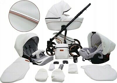 New Baby Eco Leather  3in1 Pram Pushchair Buggy Stroller+Car Seat Travel System