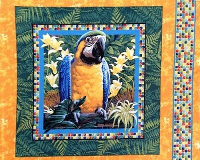 Wings of Paradise Tropical Blue and Yellow Macaw Parrot Pillow Panel