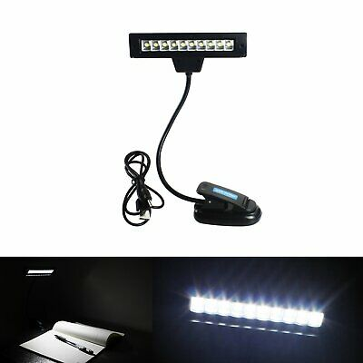10 LED White Light Reading Book Orchestral Sheet Music Stand light Clip Lamp