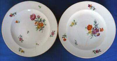 Ludwigsburg German Porcelain   Pair of Antique Hand Painted 18C Plates