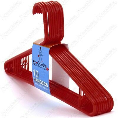 42Cm Red Strong Plastic Coat Hangers Garment Trousers Clothes Storage Wardrobe