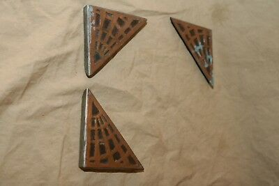 3 Antique Arts & Crafts, Mission Style Blotter Corners Only Copper on Steel