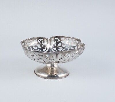 Antique c1900 Whiting Sterling Silver Footed Pierced 4 Leaf Clover Basket Bowl