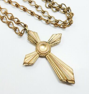 Antique Early 20c Gold GF Art Deco Cross Pendant Necklace