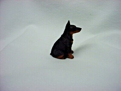 DOBERMAN red brown DOG FIGURINE resin HAND PAINTED MINIATURE Small Mini CROPPED