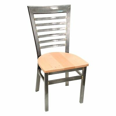 New Gladiator Clear Coat Full Ladder Back Metal Restaurant Chair, Natural Seat