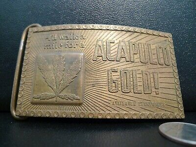 "Vintage Acapulco Gold Weed Brass Belt Buckle -  ""Bay State Jewelry"" 4"" X 2 1/2"""