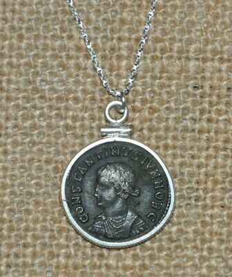 Ancient Roman Coin Constantine the Great Son Constantine II 925 Silver Necklace