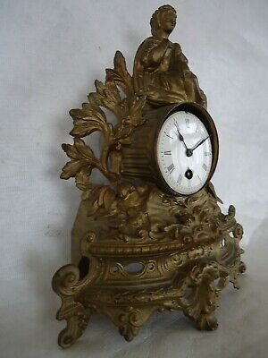 Antique French Spelter Mantle Clock. Spares Or Repair