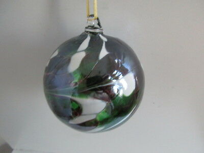 Glass Mouth Blown Spirit of Friendship Ball Deep Greenr/White Swirls 8cm Boxed