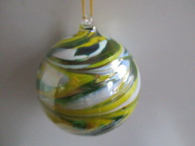 Glass Mouth Blown Spirit of Friendship Ball Lemon/Lime Swirls 8cm Boxed Gift