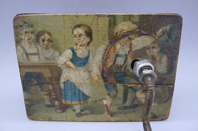 Rare Hand Painted Antique c.1890 Children Wood Music Box MUST SEE ESTATE FIND
