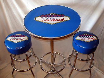 NEW Welcome To Las Vegas Neon Sign Black Bar Stool Stools with Yellow Piping