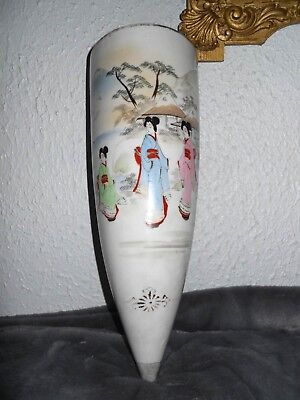 Grand Vase Mural Forme Ovoïde Porcelaine Chinoise Ancienne Vers 1900