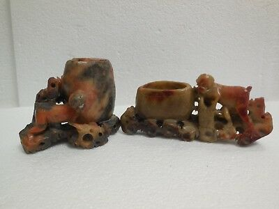 A Pair of Oriental Soapstone Brush Rinse with Monkey Figures