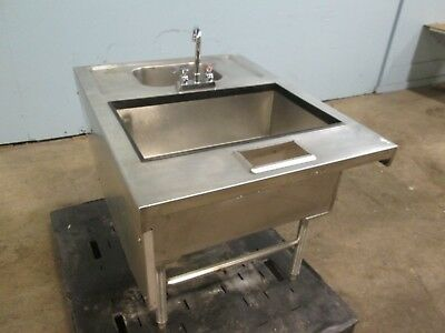 H.D. COMMERCIAL BAR SS SERVICE STATION w/INSULATED ICE BIN & WASH SINK w/FAUCET