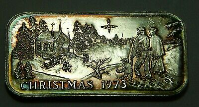.625 Troy OZ .999 Fine Silver Bar - 1973 Christmas