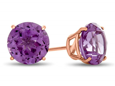 Finejewelers 10k White Gold 7mm Round Simulated Alexandrite Stud Earrings