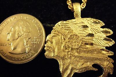 bling gold plated tribal indian chief head pendant charm chain hip hop necklace