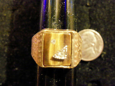 bling gold plated casino rock STONE cab tiger eye ring hip hop JEWELRY size 10