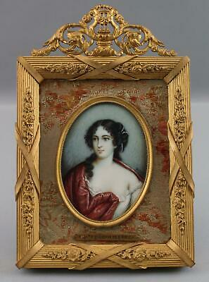 19thC Antique Gilt French Louis XV Frame Miniature Portrait Painting Young Woman