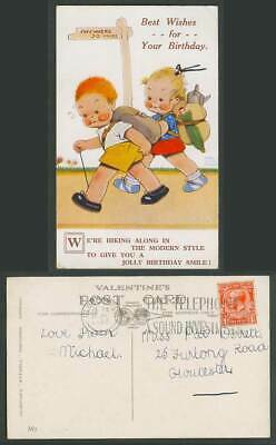 MABEL LUCIE ATTWELL 1932 Old Postcard Birthday, Hiking Along in Modern Style  M7