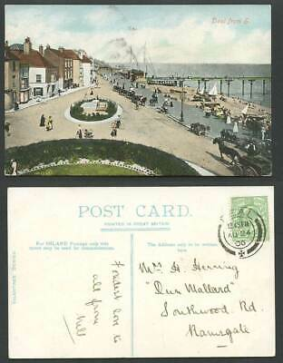 DEAL from S. South Kent 1906 Old Postcard Street Scene Pier Horse Donkey Bicycle