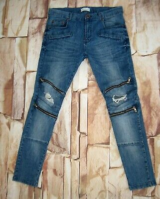 308187c0 ZARA MAN SKINNY Moto Distressed Zipper Denim Stretch Jeans Size 34 x ...