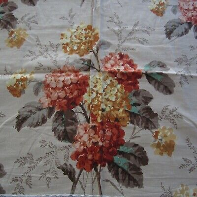 Vintage 1940s 50s Sanderson Orange Floral 17 colours Cotton Fabric 50cm x 78cm