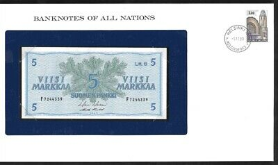 1963 Banknotes of All Nations Finland 5 Markkaa UNC